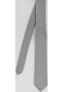 Gravata Masculina Texturizada Estampada De Poás Cinza