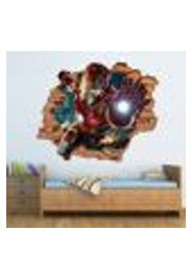 Adesivo De Parede Buraco Falso 3D Homem De Ferro 1 - P 45X55Cm