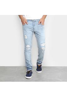 Calça Jeans Skinny Delave Rasgados Pespontos Masculina - Masculino