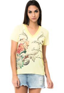 T-Shirt Moikana Gola V De Tricô Amarelo