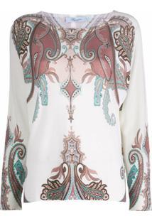 Blumarine Blusa De Tricô Com Padronagem Barroca - Branco