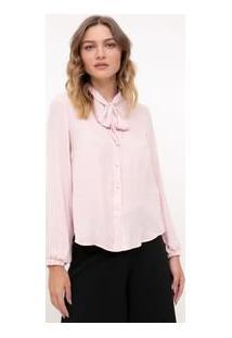 Camisa Lisa Manga Longa Com Laço