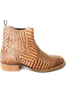 Botina Confort Masculina Em Couro Riber Shoes Elastico - Masculino-Bege+Marrom
