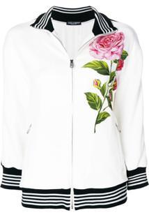 Dolce & Gabbana Blusa De Moletom Com Patch De Rosa De Seda - Branco