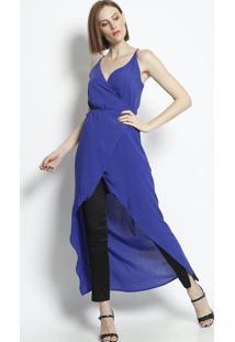 Blusa Transpassada Com Amarraã§Ã£O- Azul & Laranja- Lilinho Fino
