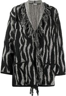Liu Jo Zebra Intarsia-Knit Cardigan - Preto