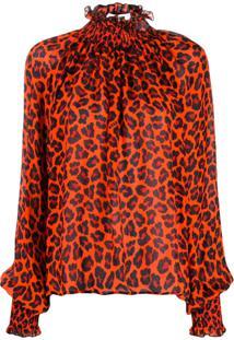 Msgm Leopard Print Turtleneck Blouse - Laranja