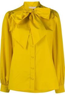 Tory Burch Blusa Com Laço Na Gola De Crepe De China - Amarelo