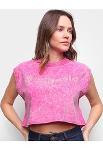 Camiseta Colcci Cropped # Cancela Feminina - Feminino-Rosa