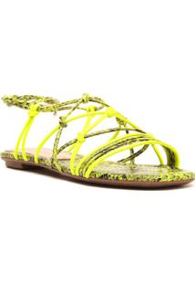 Sandália Rasteira Animal- Amarelo Neon & Pretacecconello