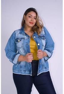 Jaqueta Jeans Kauê Plus Size Com Rasgos Feminina - Feminino-Jeans