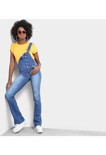 Macacão Jeans Sawary Flare Feminino - Feminino