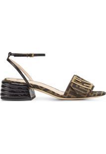 Fendi Sandália Salto Baixo Com Estampa De Logo - Marrom