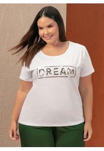Blusa Branca Com Paetê Reversível Plus Size