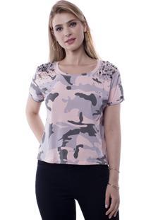 Camiseta T-Shirt Camuflada Aplicação Metal Ombros Pop Me Rosa