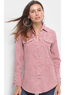 Camisa Manga Longa Adooro Veludo Cotelê Botões Amarração Feminina - Feminino-Rosa