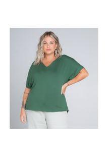 Blusa Feminina Plus Size Decote V Secret Glam Verde