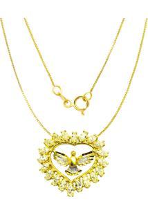 Gargantilha Prata Mil Espirito Santo C/ Zircã´Nia Folheado Em Ouro Dourado - Dourado - Feminino - Dafiti