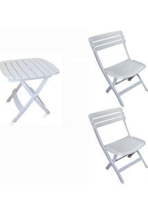 Conjunto Mesa E 2 Cadeiras Dobrável Ripada Plástico Antares