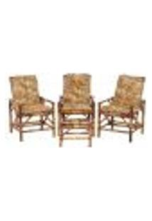Conjunto Mesa E 3 Cadeiras De Bambu Cancun Para Área Edicula Jardim G07