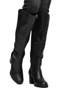 Bota Couro Montaria Shoestock Salto Médio Feminina - Feminino-Preto