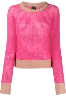 Pinko Suéter Com Acabamento Contrastante - Rosa
