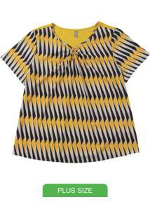 Blusa Manga Curta Com Aviamento Amarelo