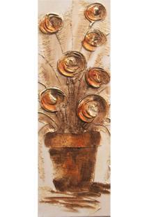 Quadro Artesanal Com Textura Vaso Com Flores Marrom 20X60Cm Uniart
