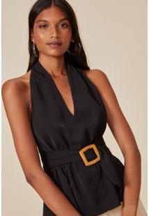 Amaro Feminino Blusa Frente Única Com Cinto, Preto