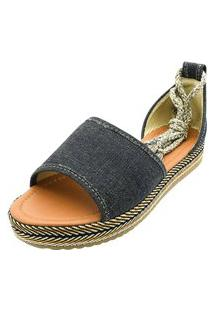 Sandália Romântica Calçados Flatform De Amarrar Jeans