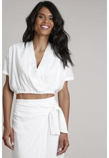 Blusa Feminina Cropped Transpassada Blusê Manga Curta Decote V Off White