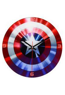 Relógio De Parede Decorativo - Disney - Marvel - Capitão América - Escudo - Mabruk
