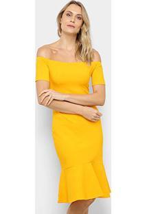 Vestidos Colcci Ombro A Ombro - Feminino-Amarelo