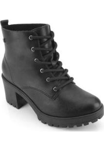 Bota Coturno Ramarim Ankle Boot Feminina - Feminino-Preto