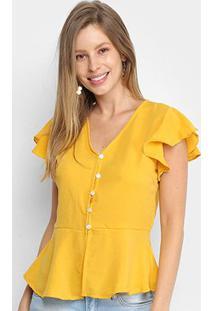 Blusa Allexia Fenda Babados Feminina - Feminino-Amarelo