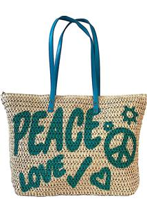 Bolsa Shopper Palha Peace Love Azul Turquesa