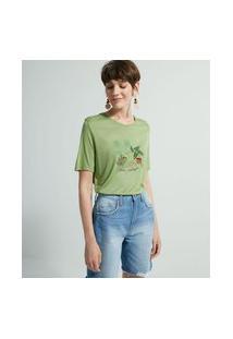 Blusa Manga Curta Em Viscose Com Bordado Frontal | Marfinno | Verde | M