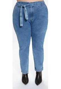 Calça Plus Size Jeans Médio Com Amarração