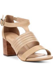 Sandália Couro Shoestock Salto Bloco Straps Feminina - Feminino-Bege
