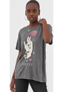 Camiseta Colcci Estampada Cinza - Cinza - Feminino - Viscose - Dafiti