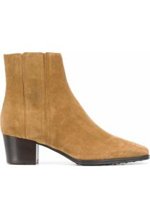 Tod'S Ankle Boot De Camurça Com Salto 50Mm - Neutro