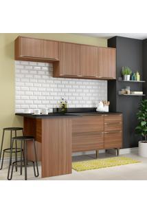 Cozinha Compacta 6 Portas Com Tampo E Pés 5460 Nogueira/Malt - Multimóveis