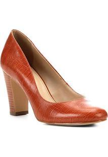 Scarpin Couro Shoestock Croco Salto Alto - Feminino-Caramelo