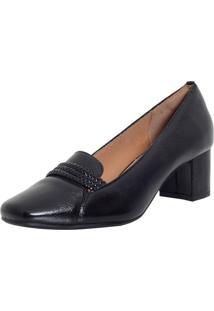Sapato Laura Prado Confort Salto Medio Preto