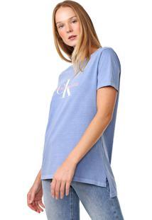 Blusa Calvin Klein Jeans Lettering Azul