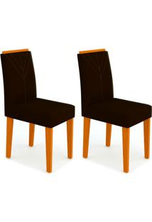 Conjunto Com 2 Cadeiras Amanda I Ipê E Preto