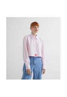 Camisa Cropped Em Tricoline Listrada Com Manga Longa | Blue Steel | Rosa | M