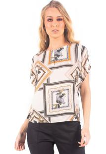 Tshirt Estampada Bana Bana - Bege/Multicolorido - Feminino - Dafiti