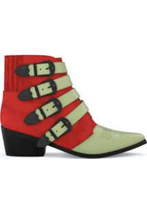 Toga Pulla Ankle Boot De Camurça E Couro - Red/Mint Green