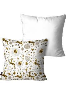 Kit Com 2 Capas Para Almofadas Pump Up Decorativas Natalinas Enfeites Dourados Branco 45X45Cm